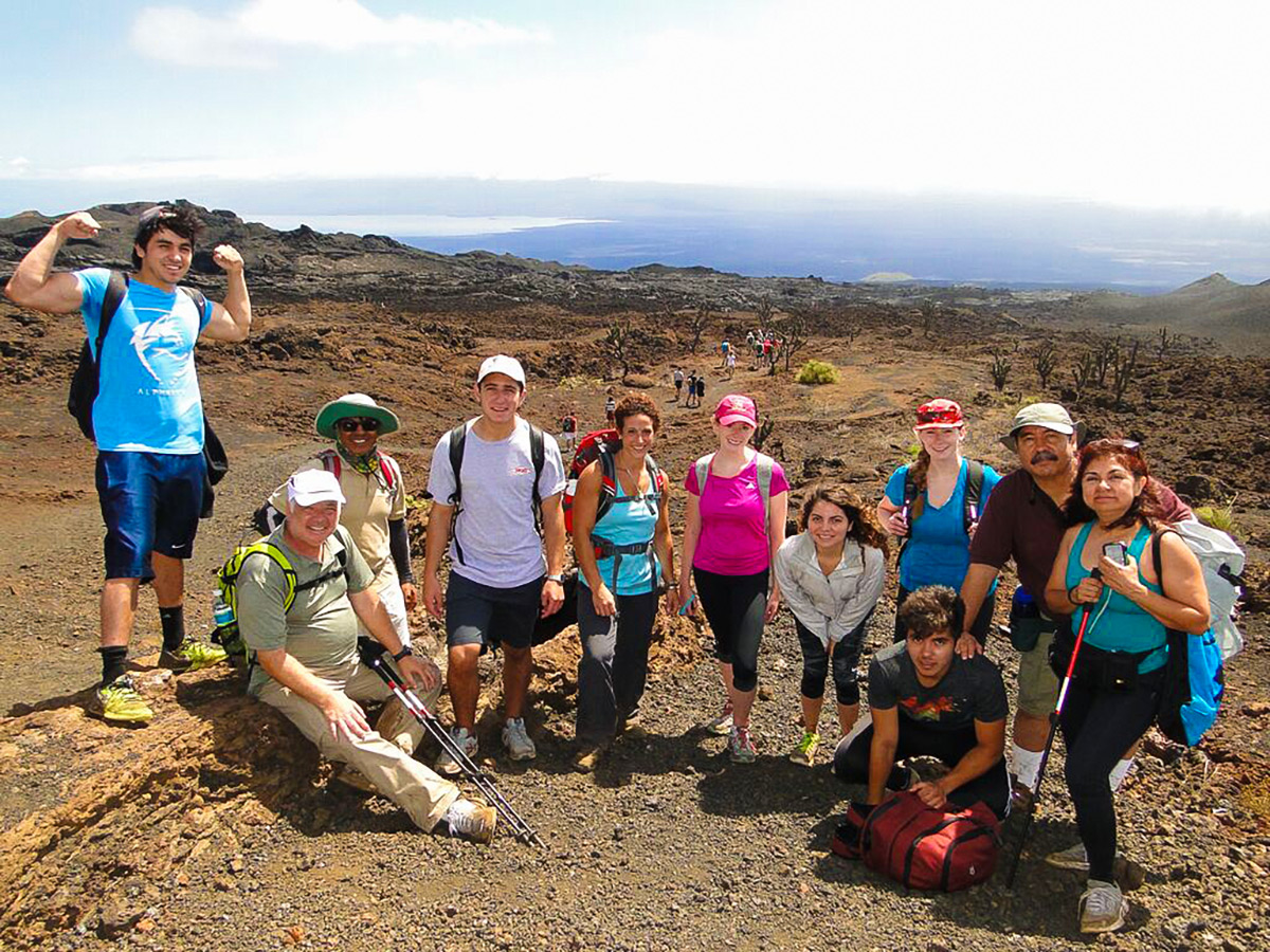 Group on Sierra Negra hike on guided Galapagos Adventure Tour in Galapagos Islands