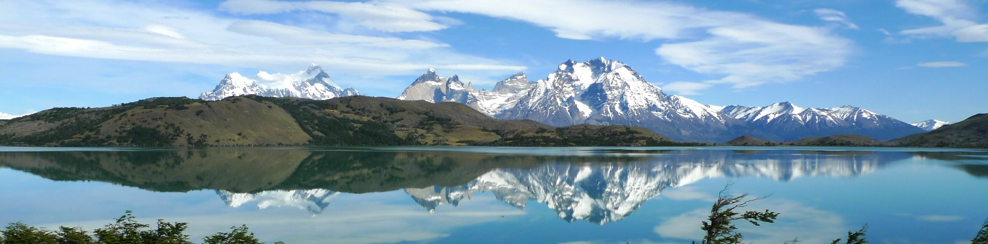 Patagonian mountains reflected in the water (Chile)