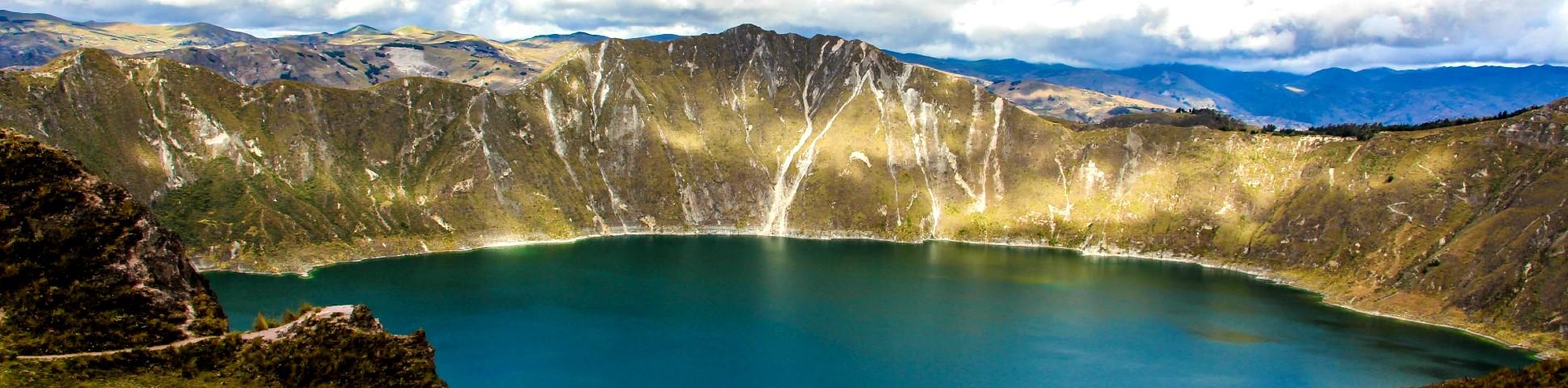 Quilotoa crater in Ecuadorian Andes