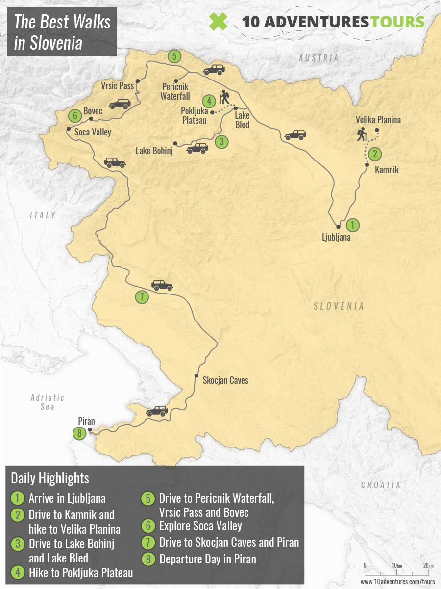 Map of The Best Walks in Slovenia hiking tour, including Ljubljana, Lake Bled and Lake Bohinj