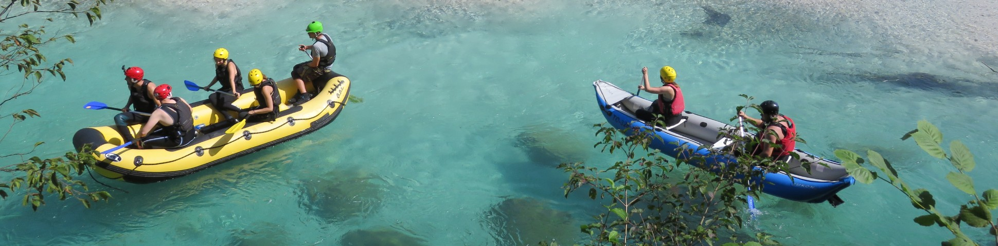 Rafting in a turquoise water