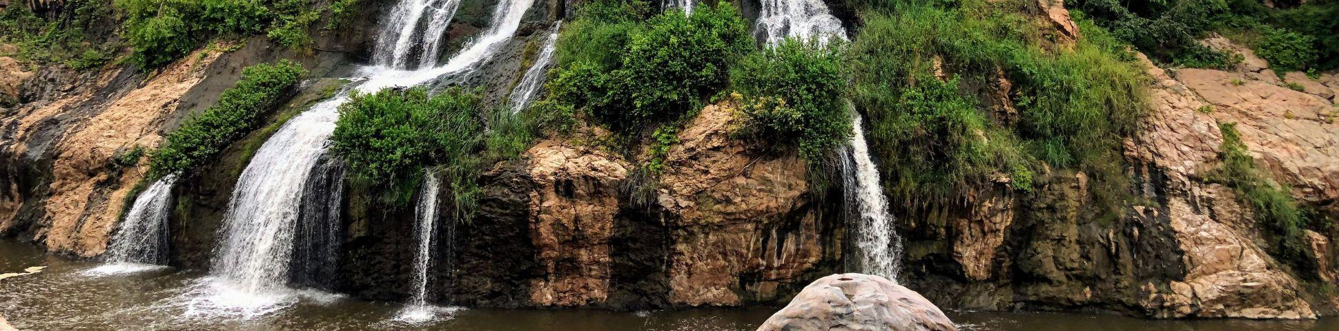Panoramic view of waterfalls in Karnataka (India)