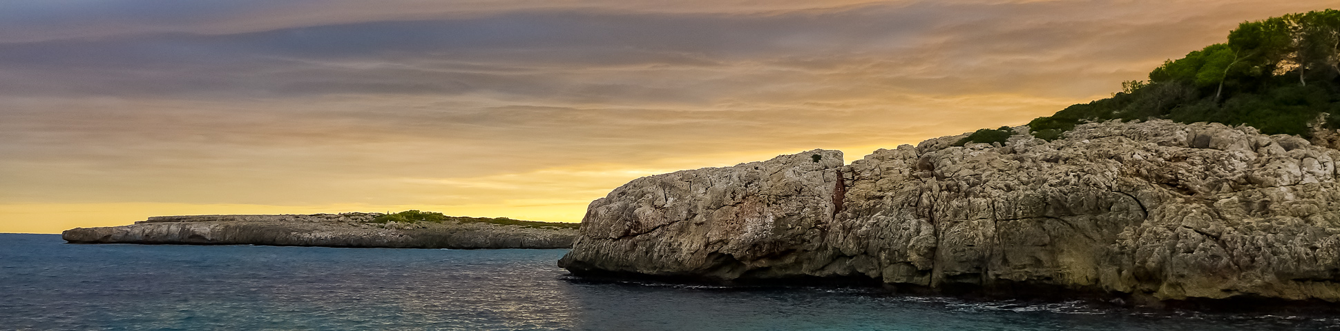 Panoramic view from Deep Water Solo Climbing in Mallorca, Spain