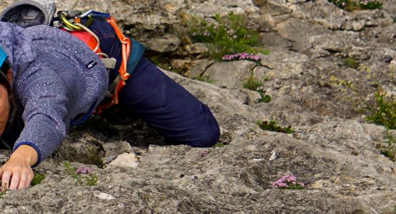 Climber in Women's Climbing Camp in Rodellar