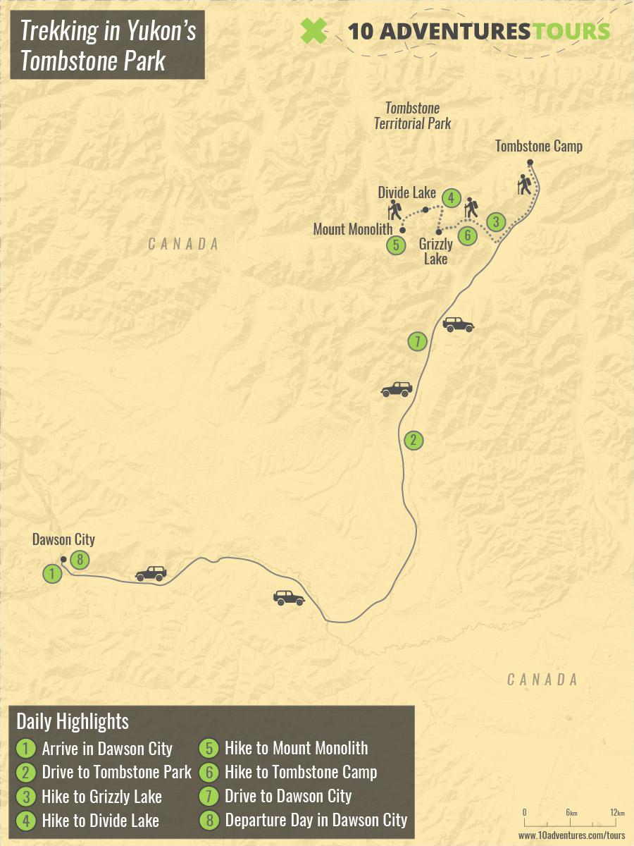 Map of Trekking in Yukon's Tombstone Park