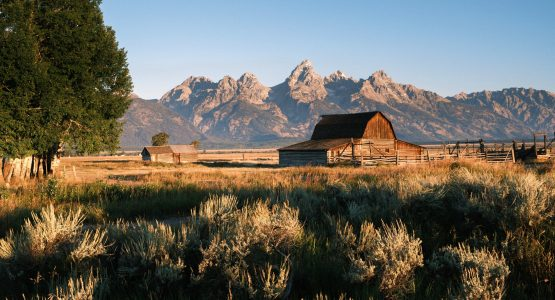 Barn in Wyoming with Tetons in the background