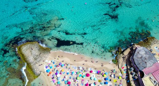 Beach in one of Balearic Islands as seen from above (Spain)