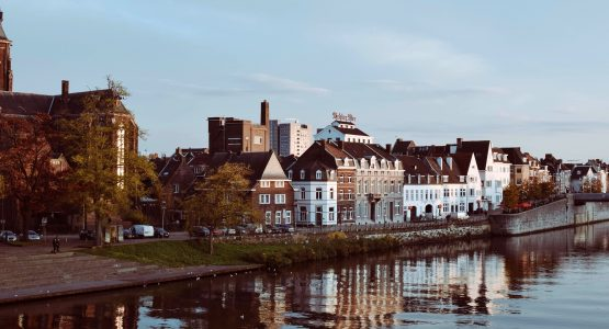 Beautiful houses along the channel in Limburg, Netherlands