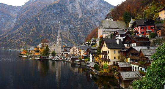 Beautiful town on a lakeshore in Europe