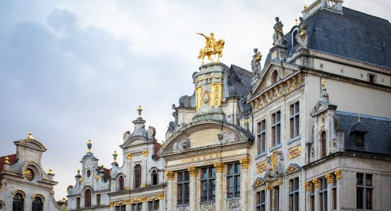 Stunning statues on the rooftop in Brussels, Flanders