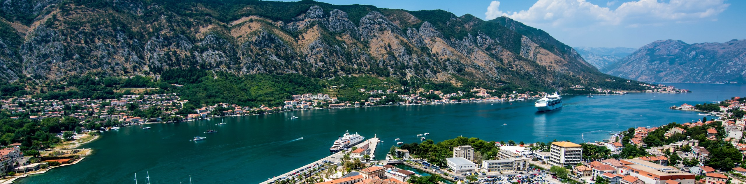 Cruise ship near one of the coastal towns of Montenegro