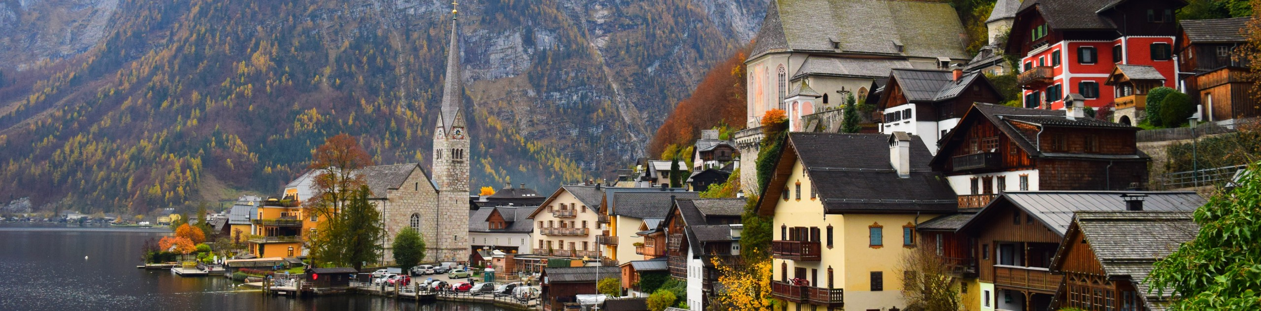Small town on a lakeshore in Alps, Europe