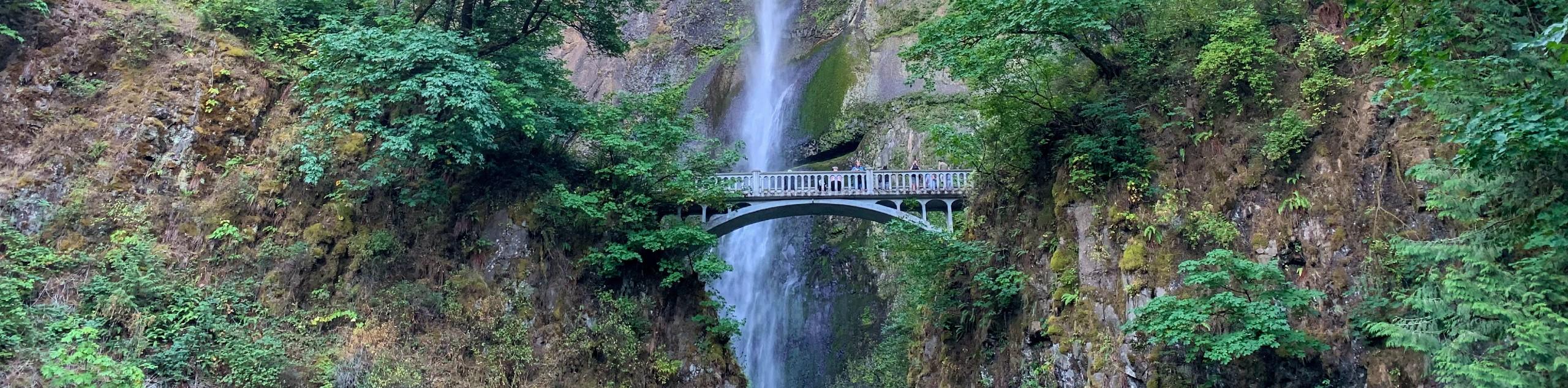 Waterfall and the bridge at Columbia River Gorge, Oregon