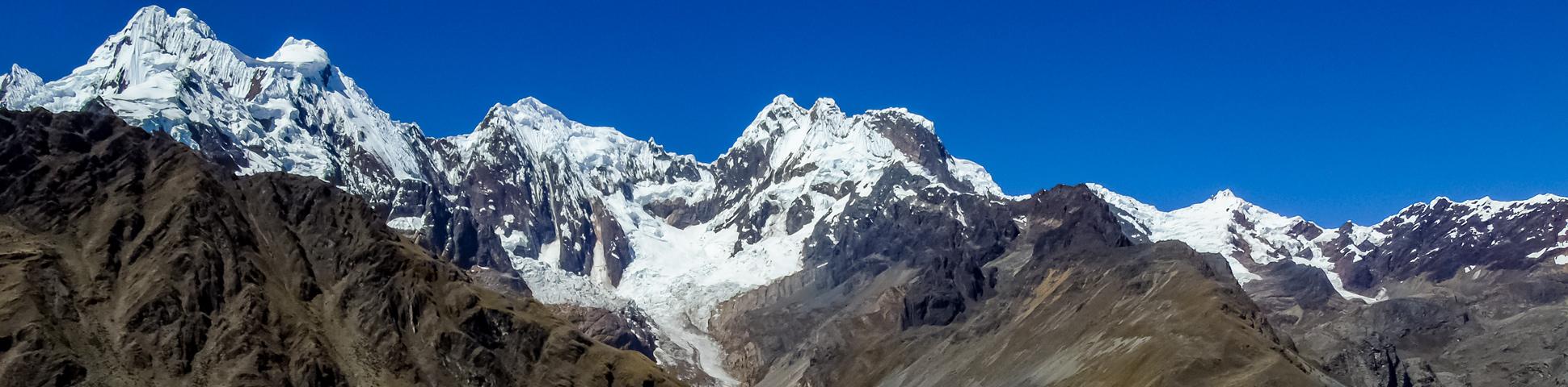 Panoramic view from Alpamayo to Pomabamba Trek