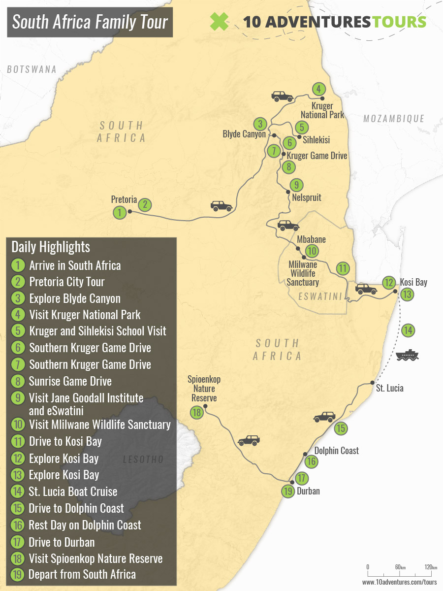 Map of South Africa Family Tour