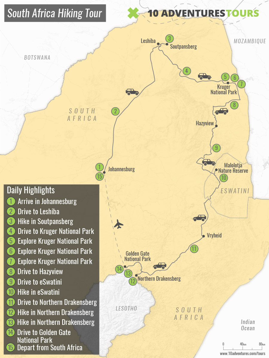 Map of South Africa Hiking Tour