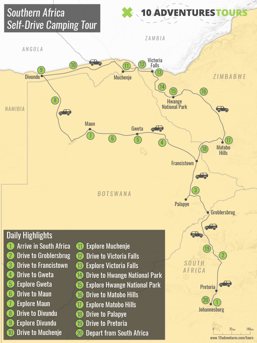 Map of Southern Africa Self-Drive Camping Tour