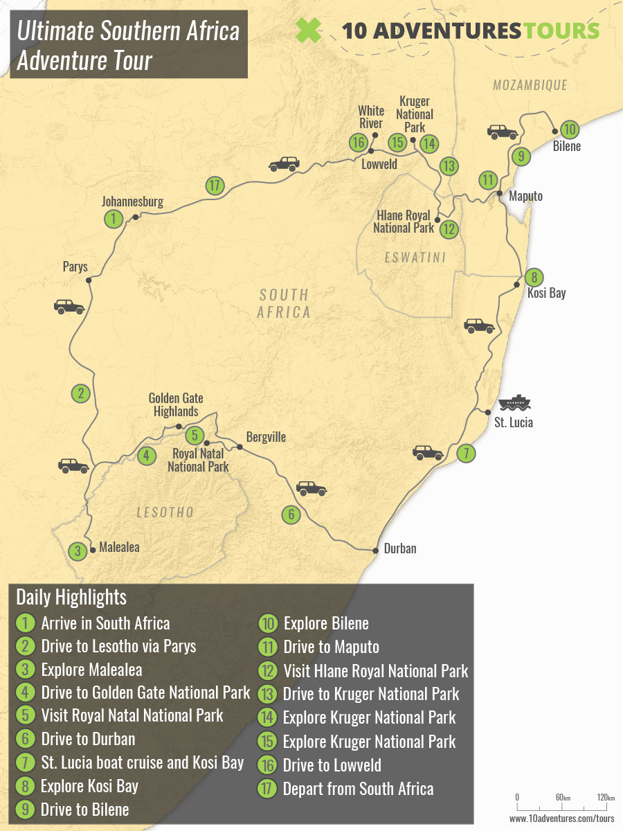 Map of Ultimate Southern Africa Adventure Tour