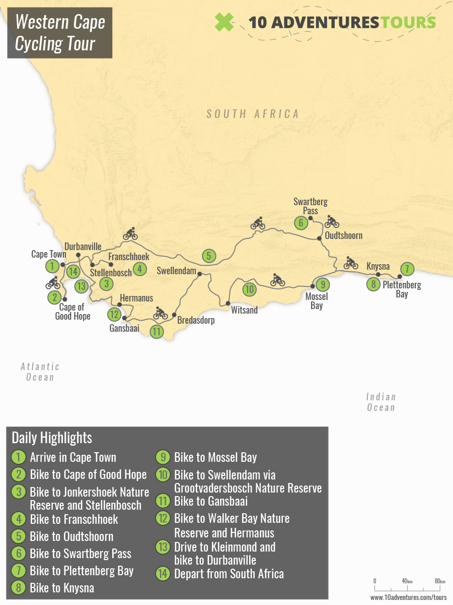 Map of Western Cape Cycling Tour