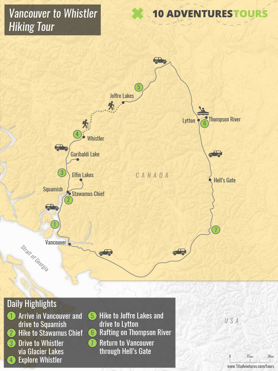 Map of Sea to Sky (Vancouver to Whistler) Hiking Tour in British Columbia