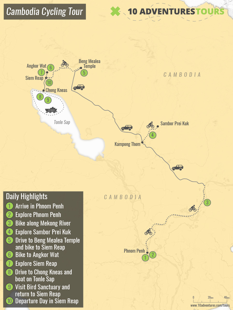 Map of Cambodia Cycling Tour