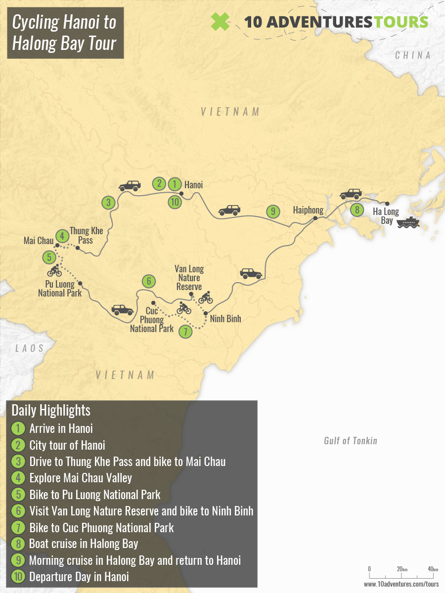 Map of Cycling Hanoi to Halong Bay Tour in Vietnam