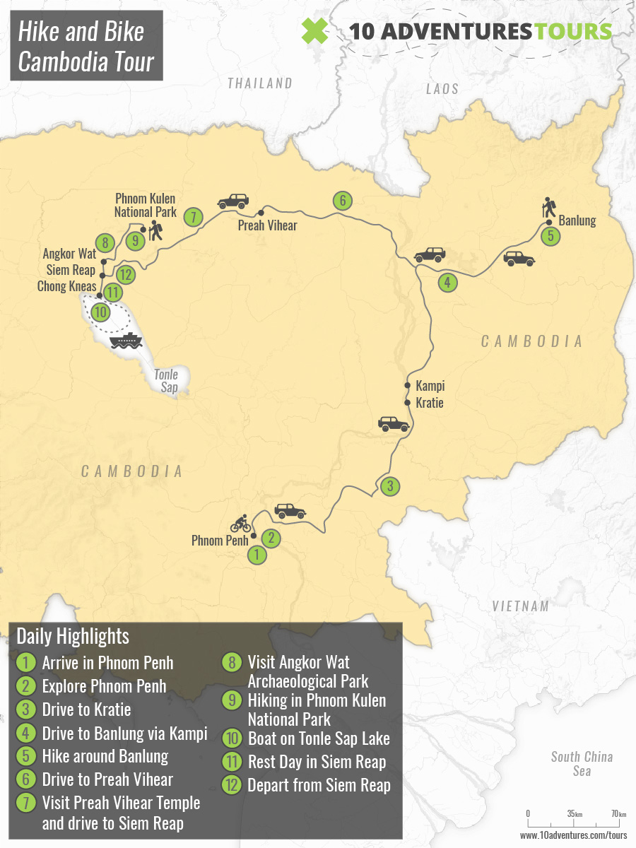 Map of Hike and Bike Cambodia Tour