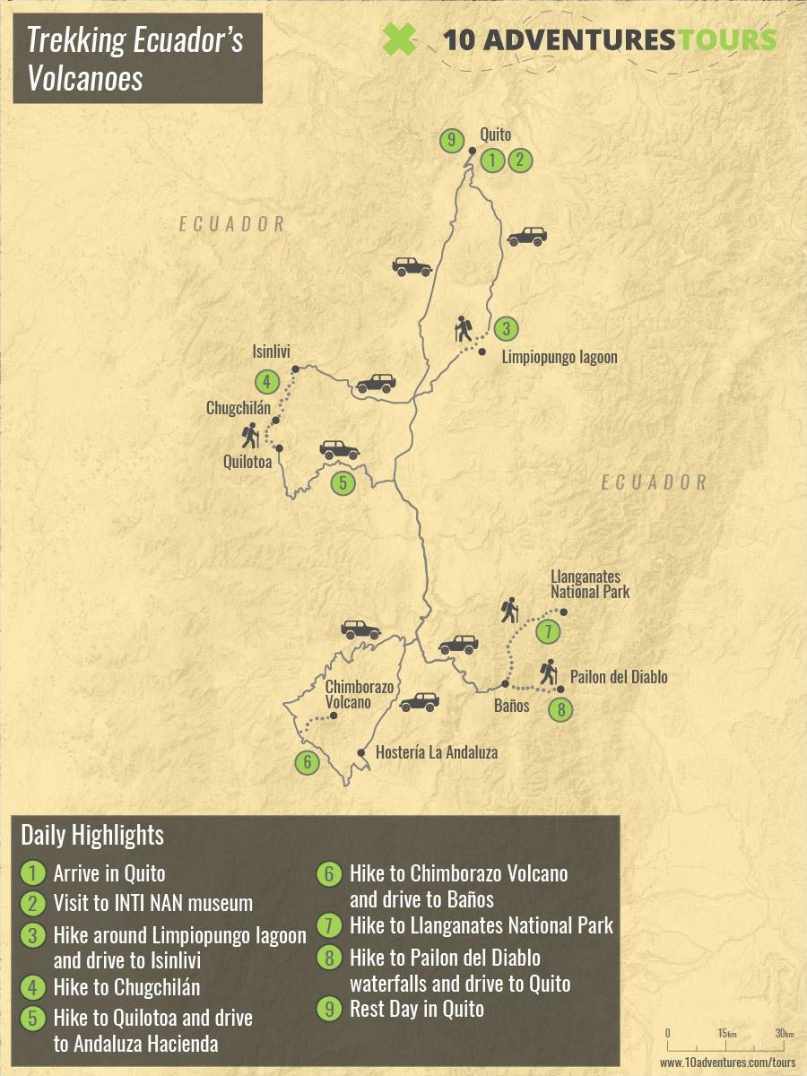 Map of Trekking Ecuador's Volcanoes tour in Ecuador