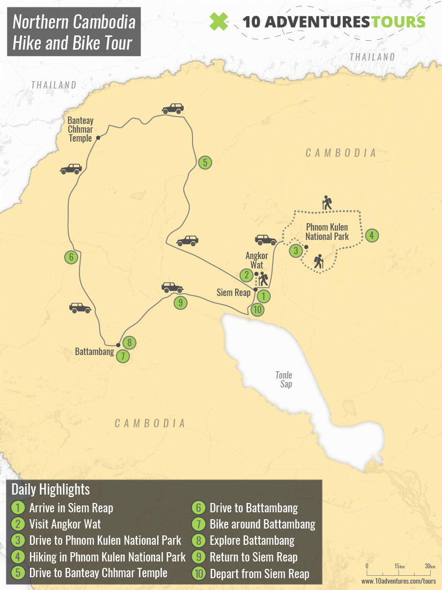 Map of Northern Cambodia Hike and Bike Tour