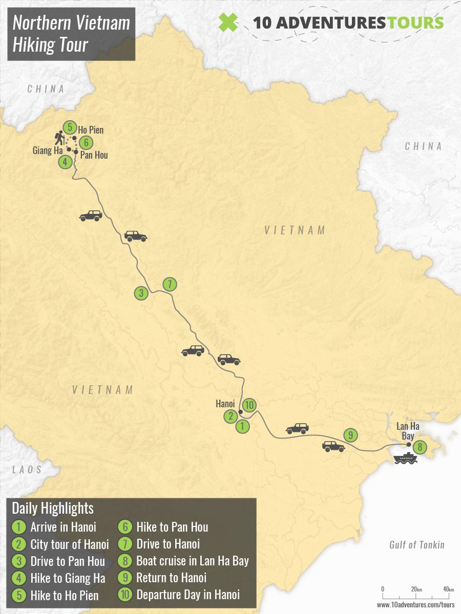 Map of Northern Vietnam Hiking Tour