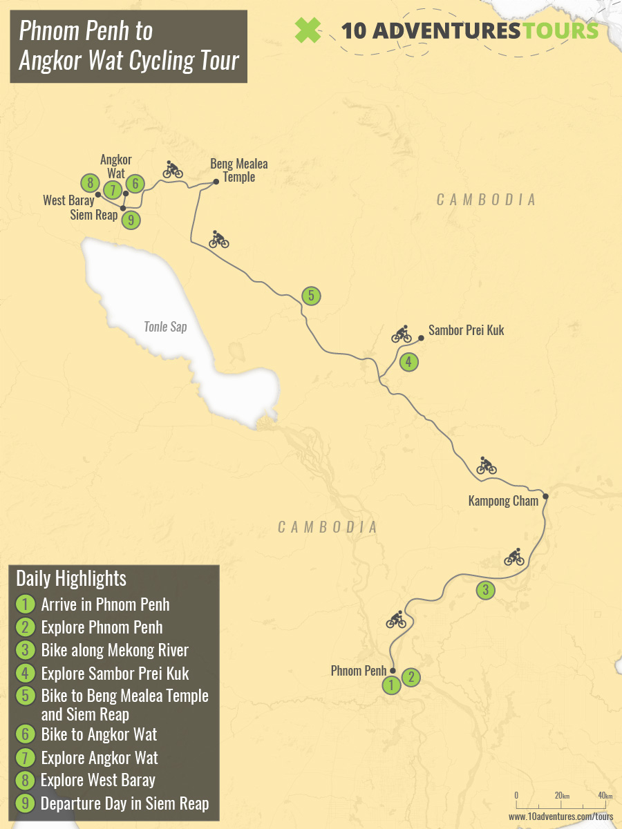 Map of Phnom Penh to Angkor Wat Cycling Tour in Cambodia