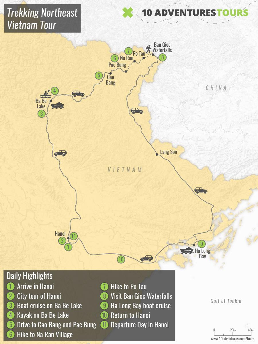 Map of Trekking Northeast Vietnam Tour