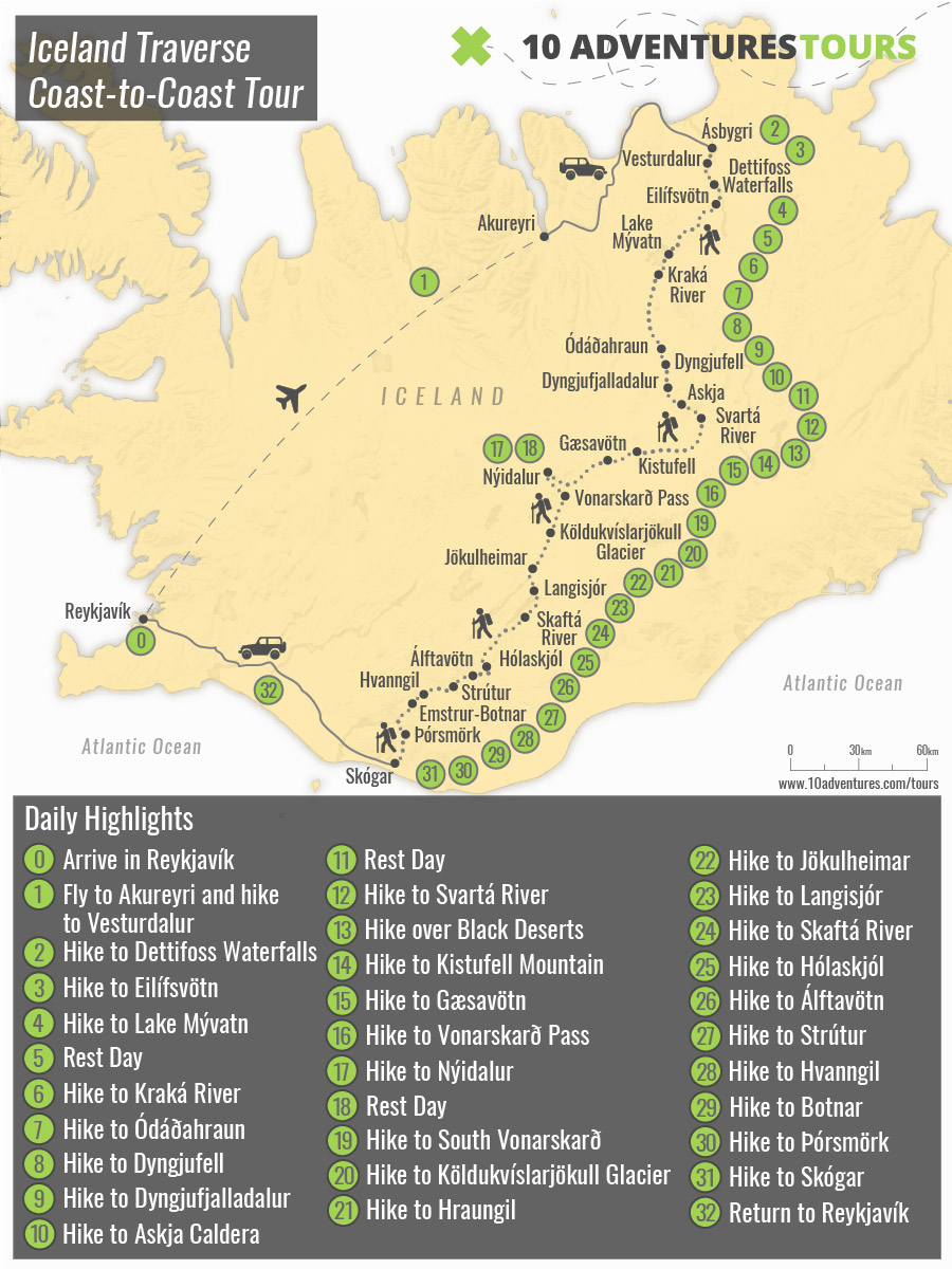 Map of Iceland Traverse Coast-to-Coast Tour