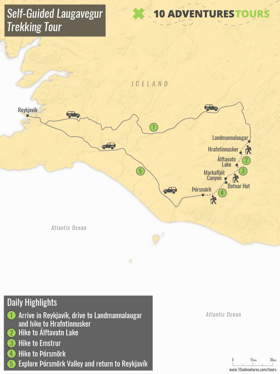 Map of Self-Guided Laugavegur Trekking Tour