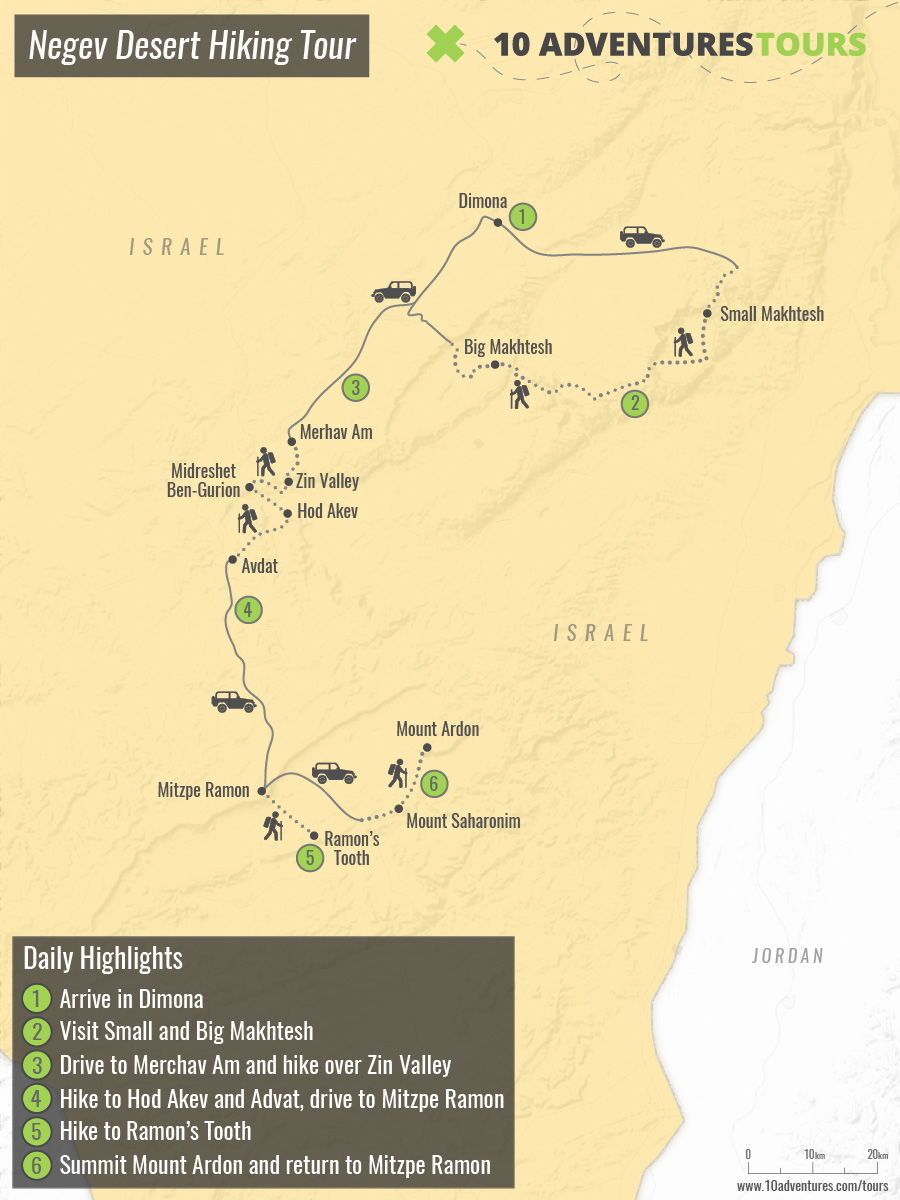 Map of Negev Desert Hiking Tour in Israel