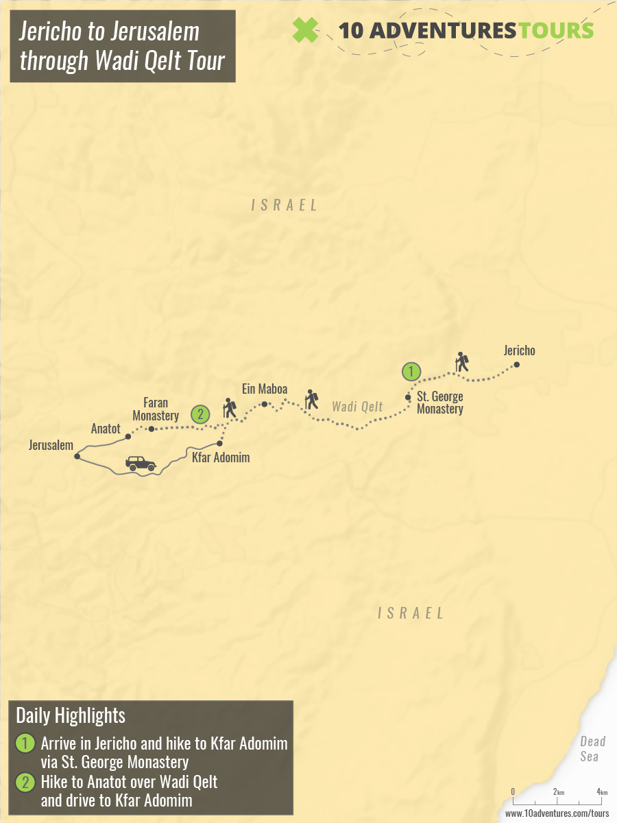 Map of Jericho to Jerusalem through Wadi Qelt Tour in Israel