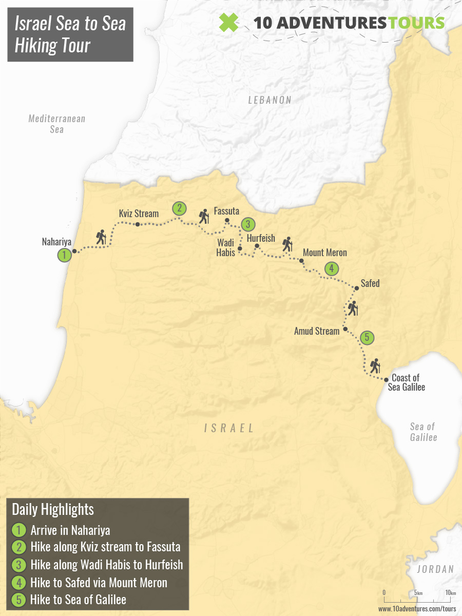 Map of Israel Sea to Sea Hiking Tour
