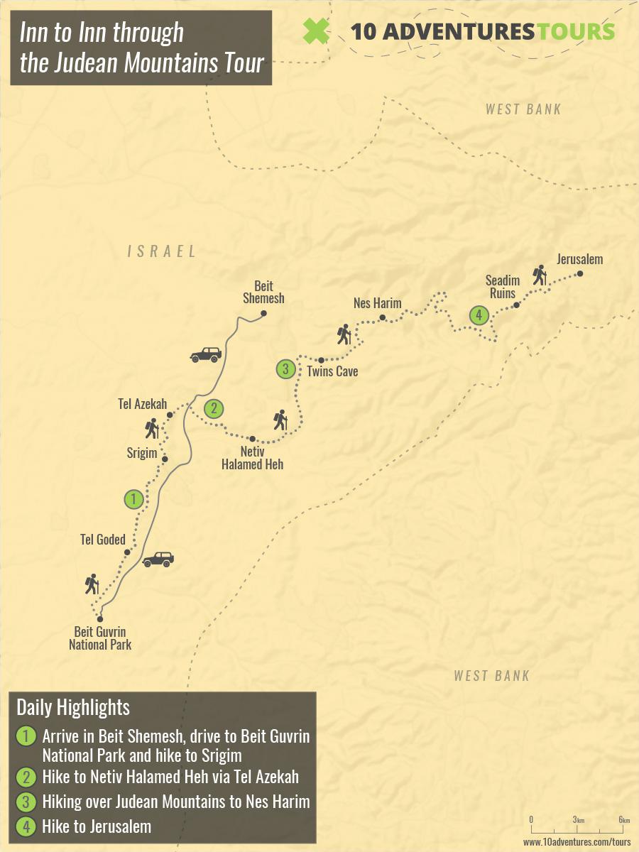 Map of Inn to Inn through the Judean Mountains Tour