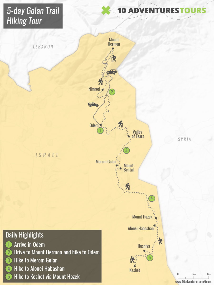 Map of 5-day Golan Trail Hiking Tour in Israel
