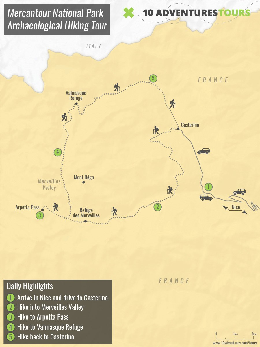 Map of Mercantour National Park Archaeological Hiking Tour in France