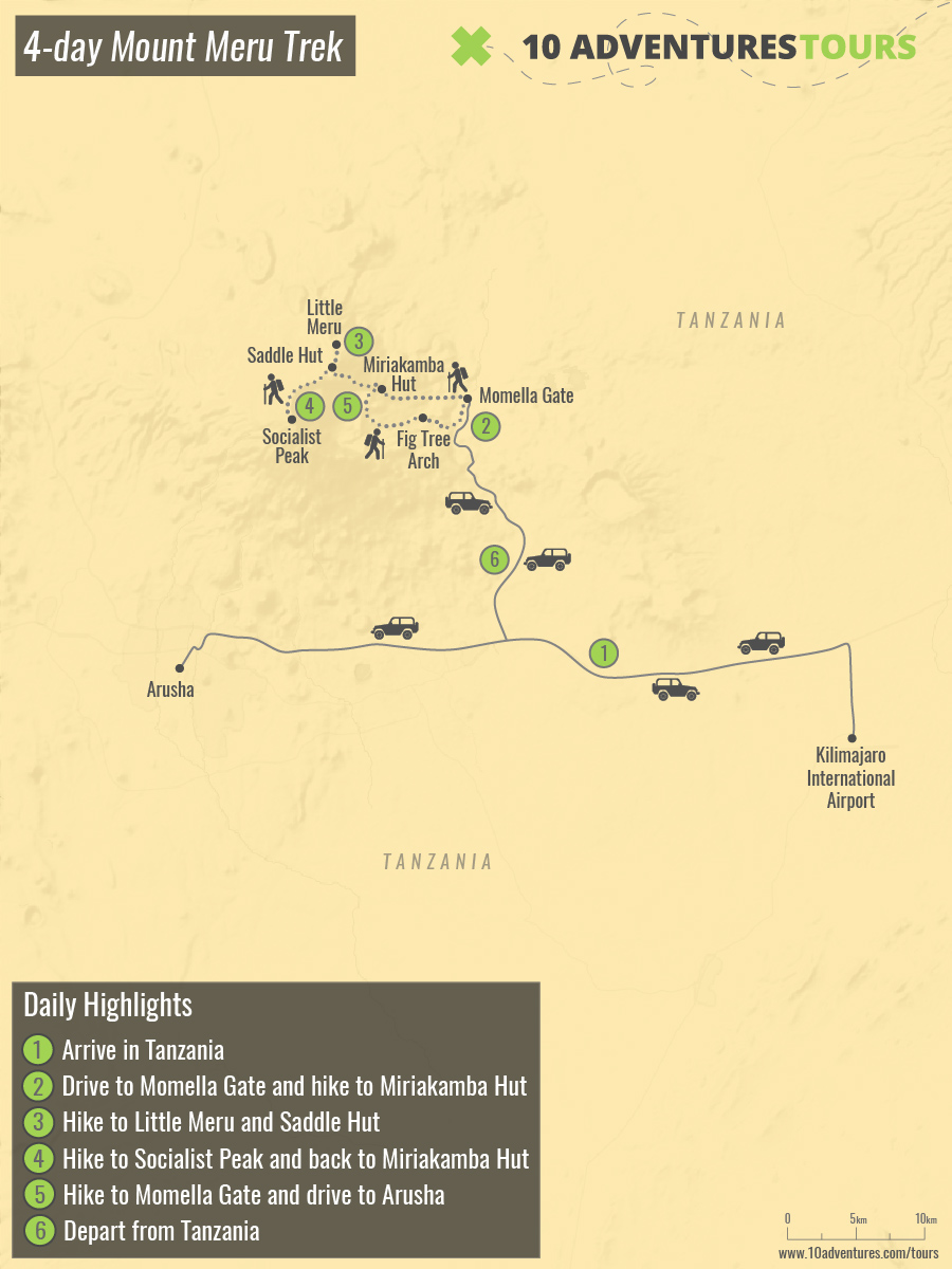 Map of 4-day Mount Meru Trek in Tanzania