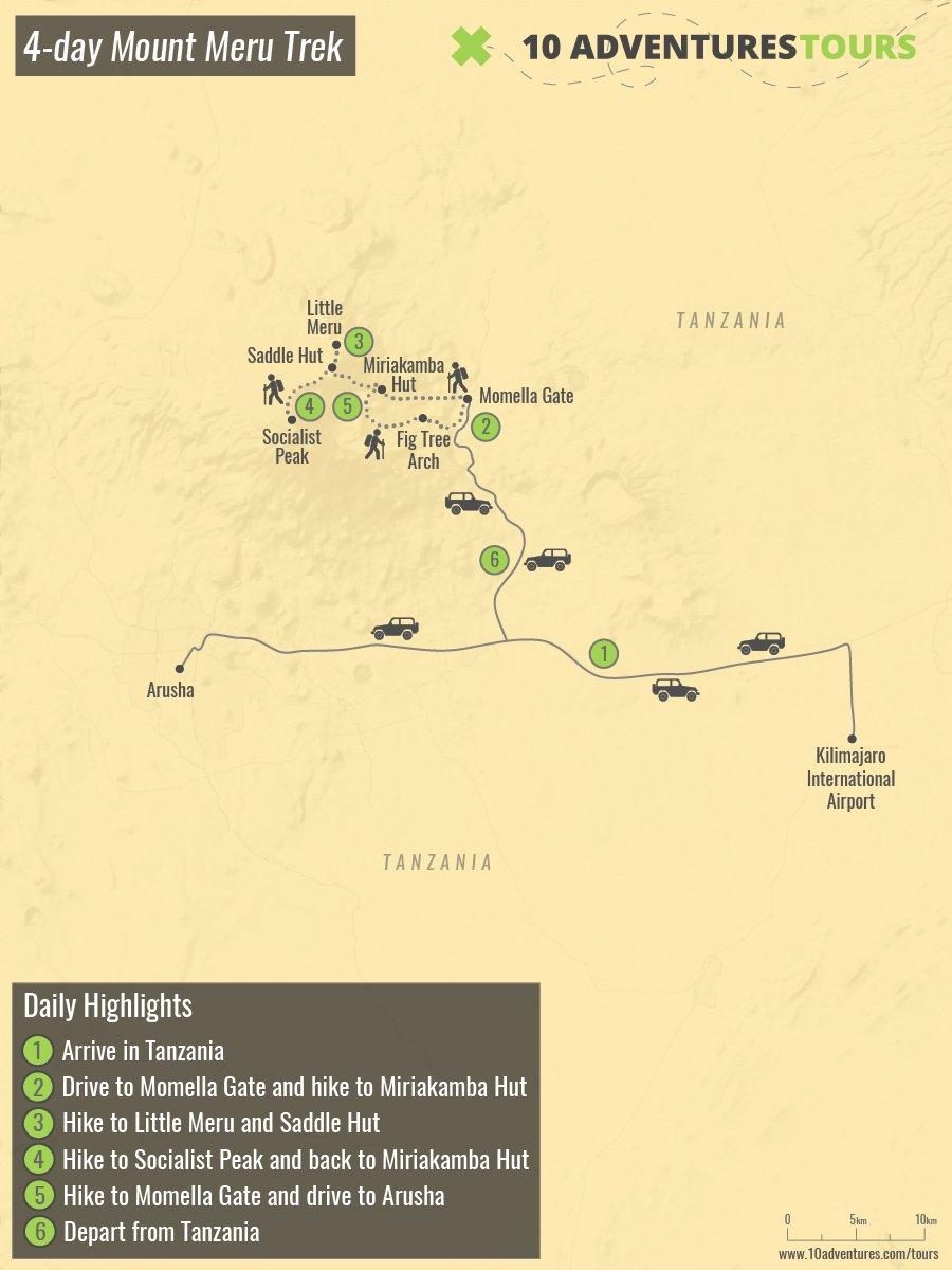 Map of 4-day Mount Meru Trek in Tanzania
