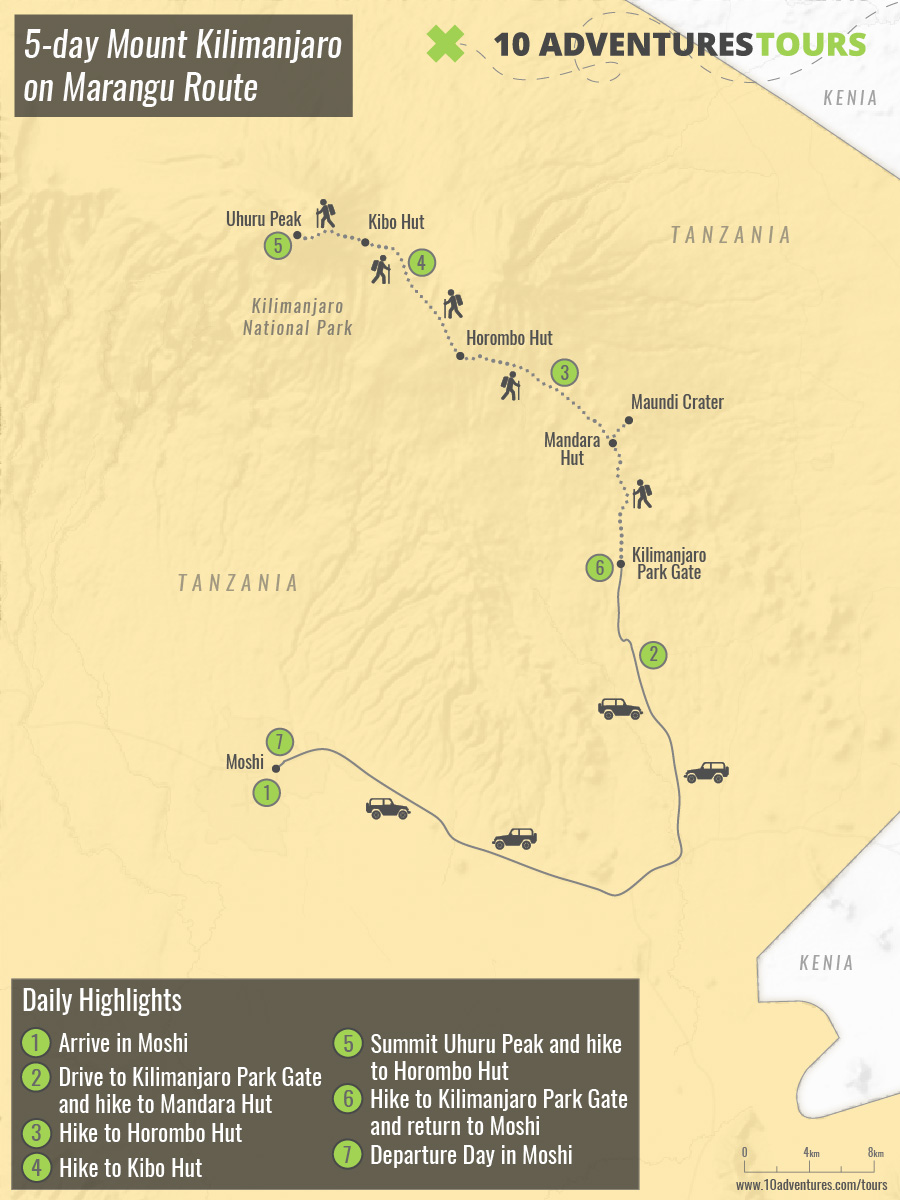 Map of 5-day Mount Kilimanjaro on Marangu Route in Tanzania