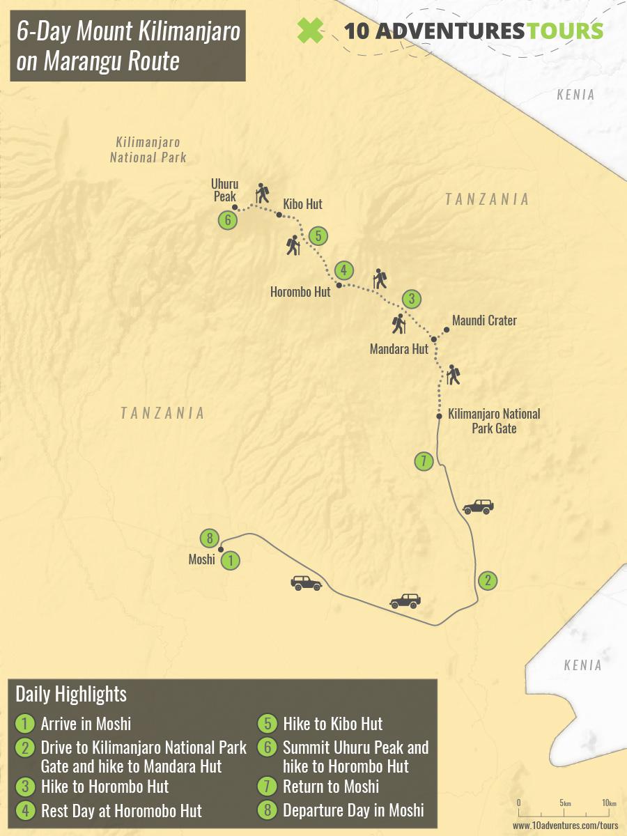 Map of 6-Day Mount Kilimanjaro on Marangu Route in Tanzania