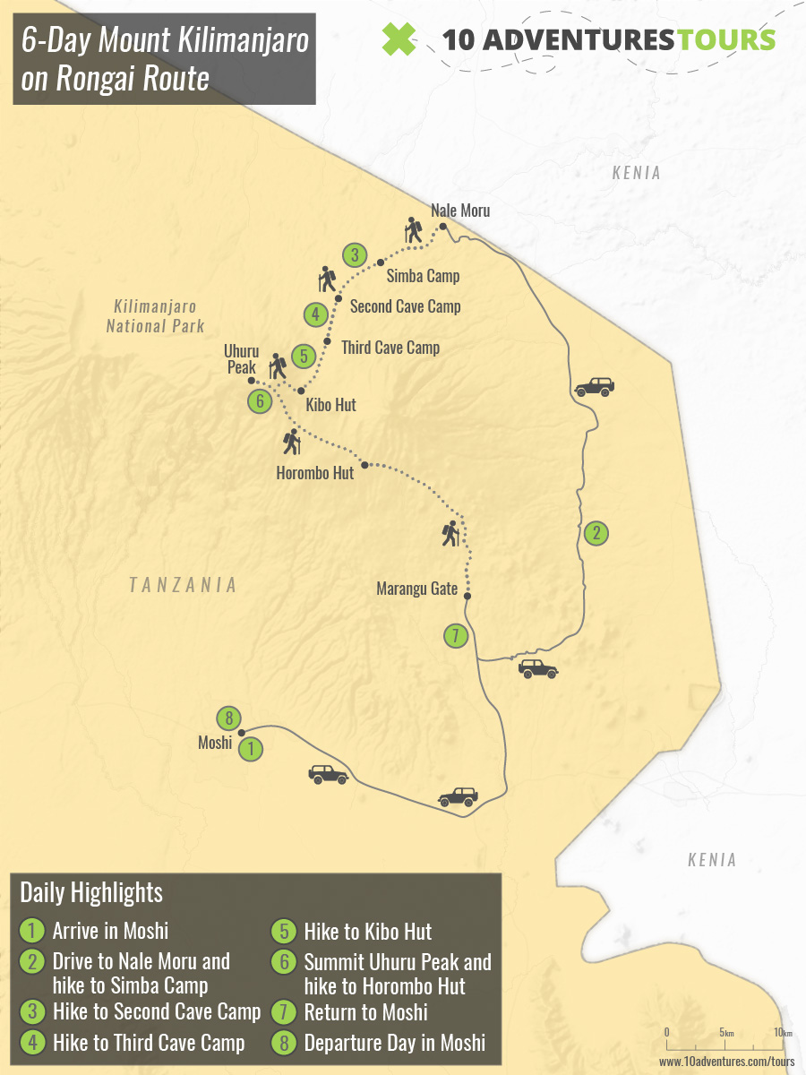 Map of 6-Day Mount Kilimanjaro on Rongai Route in Tanzania