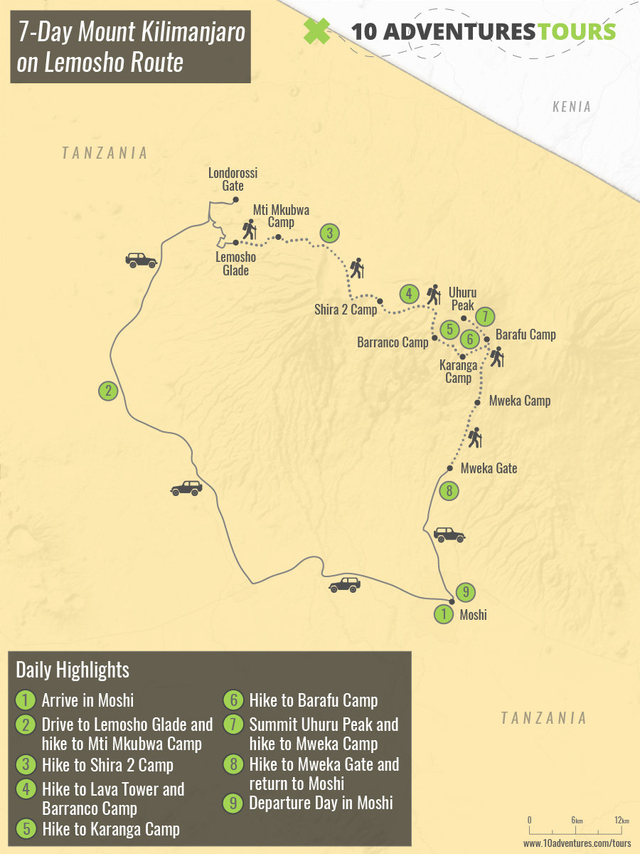 Map of 7-Day Mount Kilimanjaro on Lemosho Route in Tanzania