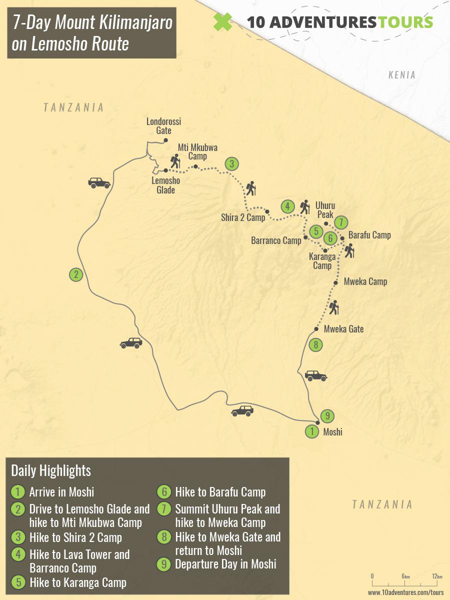 Map of 7-Day Mount Kilimanjaro on Lemosho Route in Tanzania