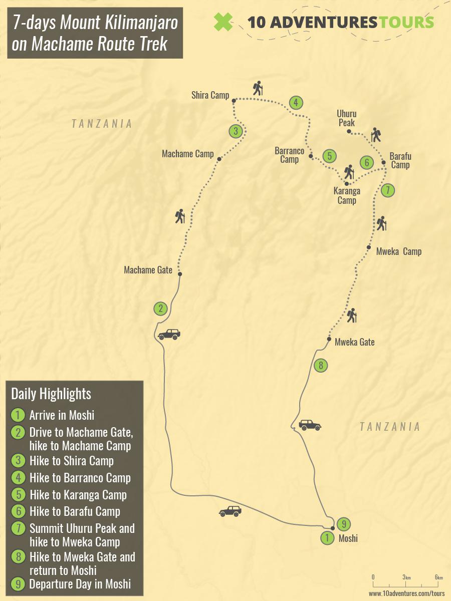 Map of 7-days Mount Kilimanjaro on Machame Route Trek in Tanzania