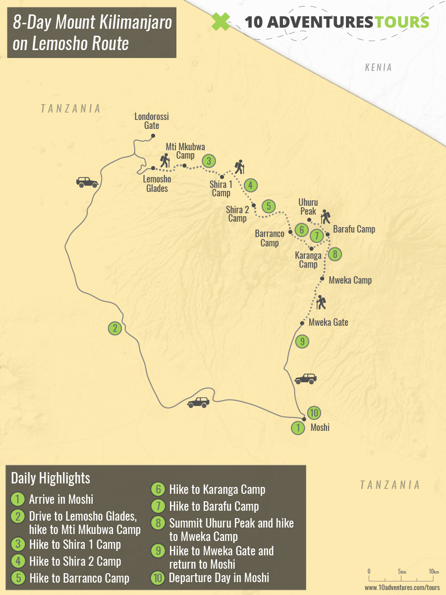Map of 8-Day Mount Kilimanjaro on Lemosho Route in Tanzania