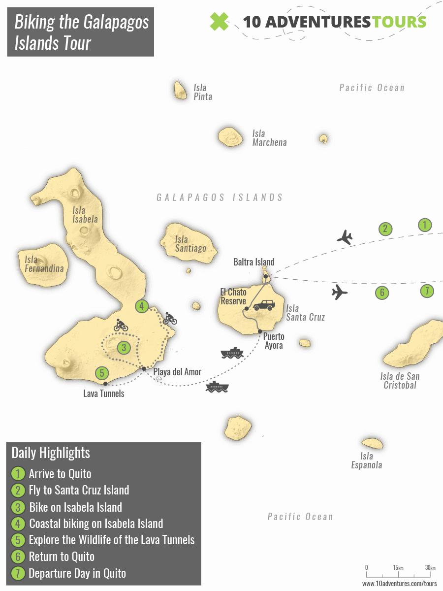 Map of Biking the Galapagos Islands Tour